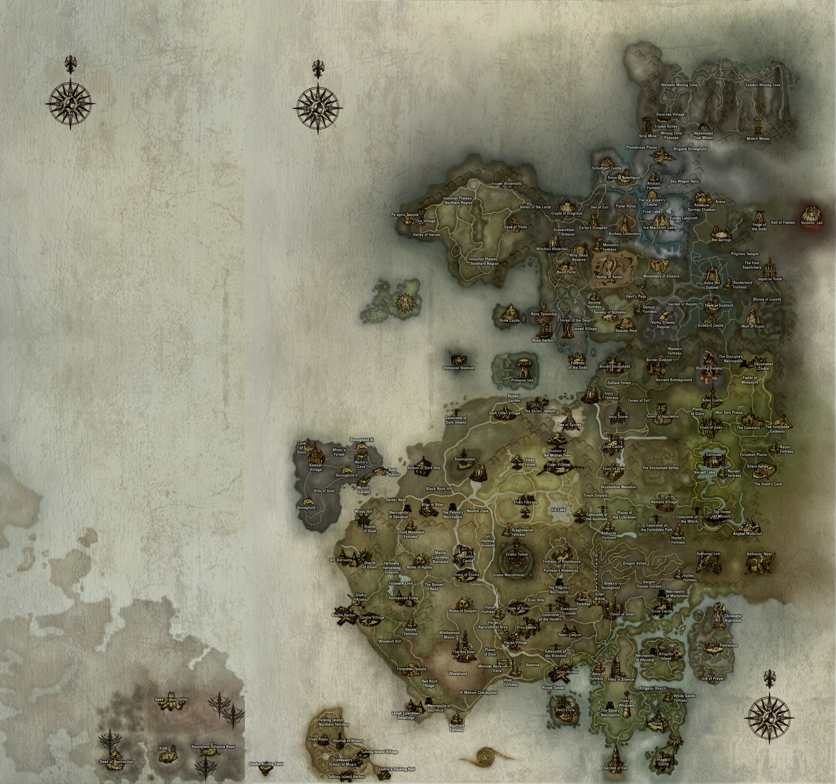 Aden World Map.Lineage Maps Lineage 2 Game Drop Calculator Interlude Kamael